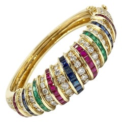 Diamond, Ruby, Sapphire and Emerald 18 Karat Gold Wide Bangle Bracelet