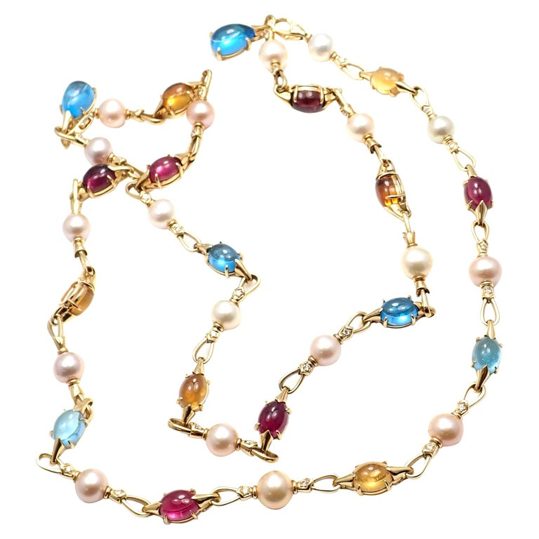 Bulgari Diamond Color Stone Pearl Set of Two Yellow Gold Necklace