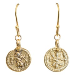 22 Karat Gold Indian Deity Pendant Earrings