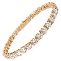 Cartier 3-Prong Diamond Tennis Bracelet in 18 Karat Yellow Gold 9.55 Carat