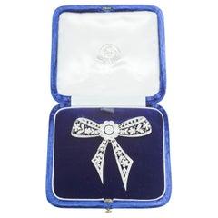 Brooch, Edwardian Platinum and Diamond Set Bow Brooch, English, circa 1910