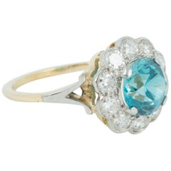 Modern Zircon and Diamond Cluster Ring