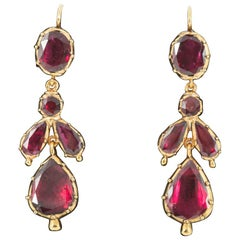 Georgian Foiled Flat Cut Garnet Earrings