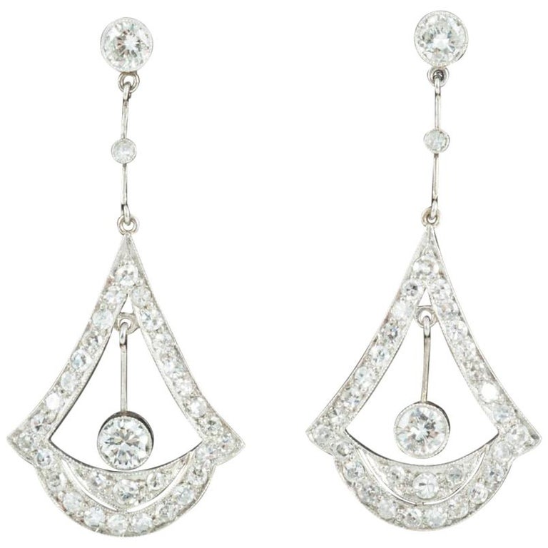 Edwardian Drop Diamond Earrings