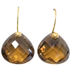 Citrine and 18 Karat Gold Drop Earrings