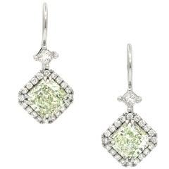GIA 2.77 Carat Natural Green Diamond Earrings