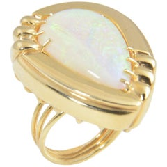 1970s Large Opal and Gold Statement Ring