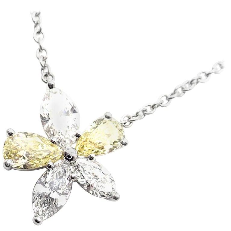 Tiffany & Co. Victoria Yellow and White Diamond Platinum Pendant Necklace