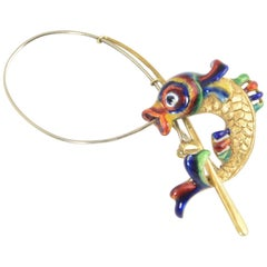 Italian Enamel and Gold Fish Caught on a Rod Brooch