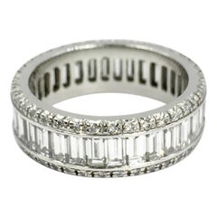 Platinum Emerald Cut Diamond Eternity Band by Favero 4.91 Carat Total Weight