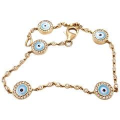 Aaron Basha Diamond Station Evil Eye Yellow Gold Bracelet