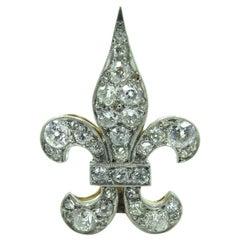 Platinum and Diamond Fleur-de-Lis Brooch
