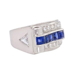 Cartier Art Deco Platinum, Diamond, and Buff-Top Sapphire Ring