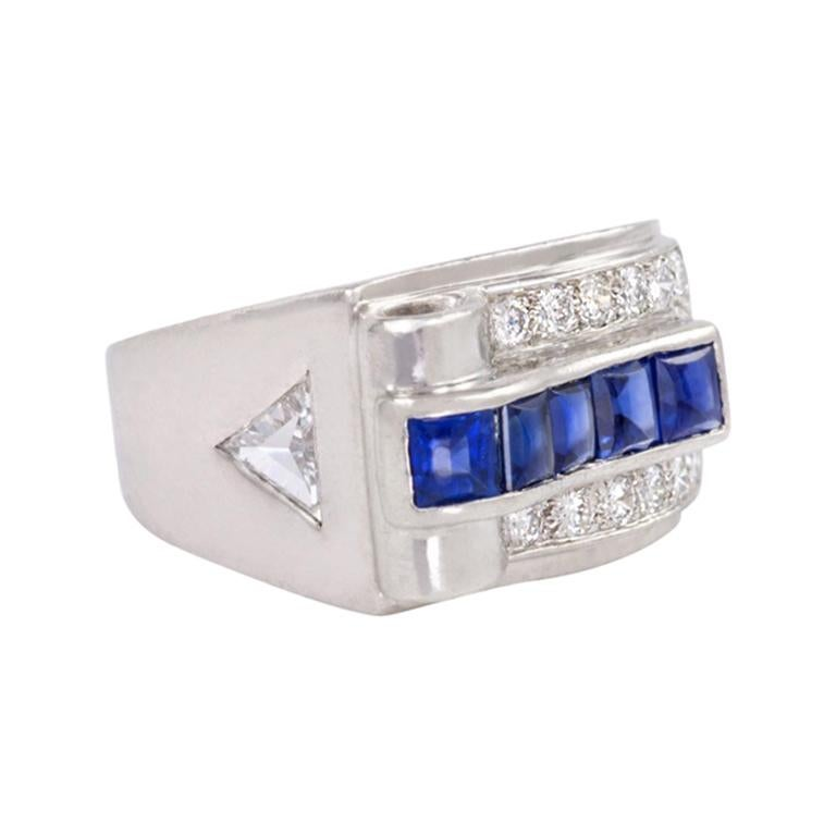 Cartier Art Deco Platinum, Diamond, and Buff-Top Sapphire Ring