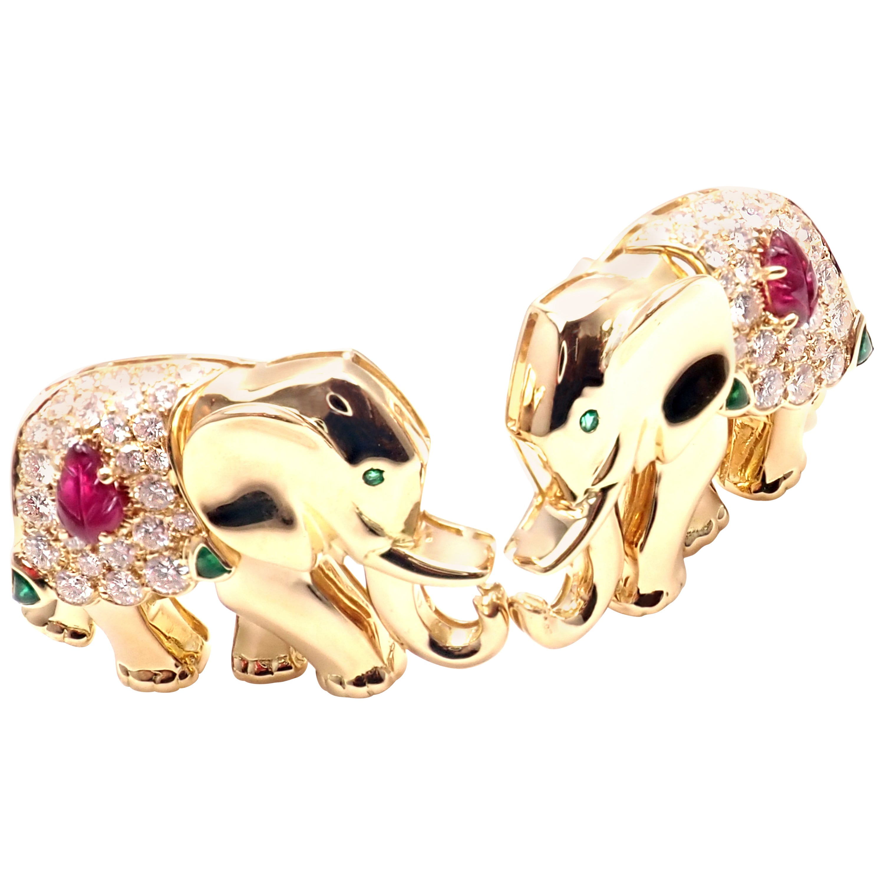 Vintage Cartier Diamond Ruby Emerald Yellow Gold Elephant