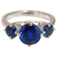 Natural Kyanite Sapphire Diamonds Ring 3.82 Carat Vivid Blue 14 Karat