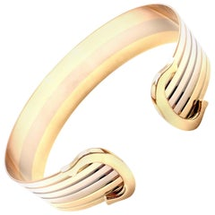 Cartier Double C Tri-Color Gold Cuff Bangle Bracelet