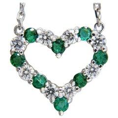 Natural Emeralds and Diamonds Open Heart Necklace .90 Carat 14 Karat G/Vs