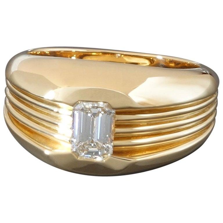 Carl Bucherer Emerald Cut Diamond Rose Gold Gents Men's Ring For Sale
