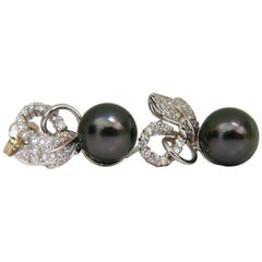 .60 Carat 18 Karat Natural AAA Tahitian Pearl Diamond Earrings Cluster Floral