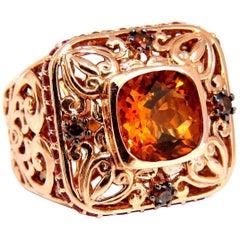 8.40 Carat Natural Golden Citrine Fancy Color Diamonds Ring 14 Karat
