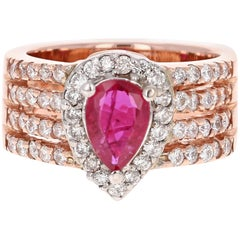 2.10 Carat Ruby Diamond 14 Karat Rose Gold Ring