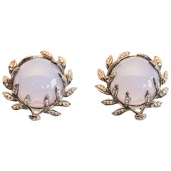 Chalcedony and Diamond Stud Earrings