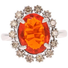 3.14 Carat Fire Opal Diamond 14 Karat White Gold Ring