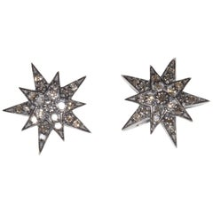 Diamond and Sterling Silver Star Motif Stud Earrings