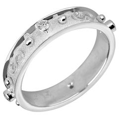 Georgios Collections 18 Karat White Gold Diamond Band Ring With Granulation Work