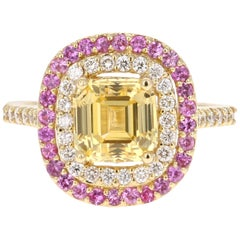 3.96 Carat GIA Certified Yellow Sapphire and Diamond 18 Karat Yellow Gold Ring