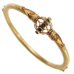 22 Karat Gold and Emerald Bangle Bracelet