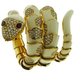 18 Karat Yellow Gold White Enamel Serpent Bracelet Watch by Bvlgari