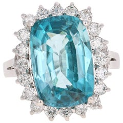 10.00 Carat Blue Zircon Diamond White Gold Engagement Ring 14 Karat White Gold