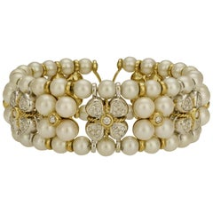 Cultured Pearl and Diamond Floral Cuff Bracelet