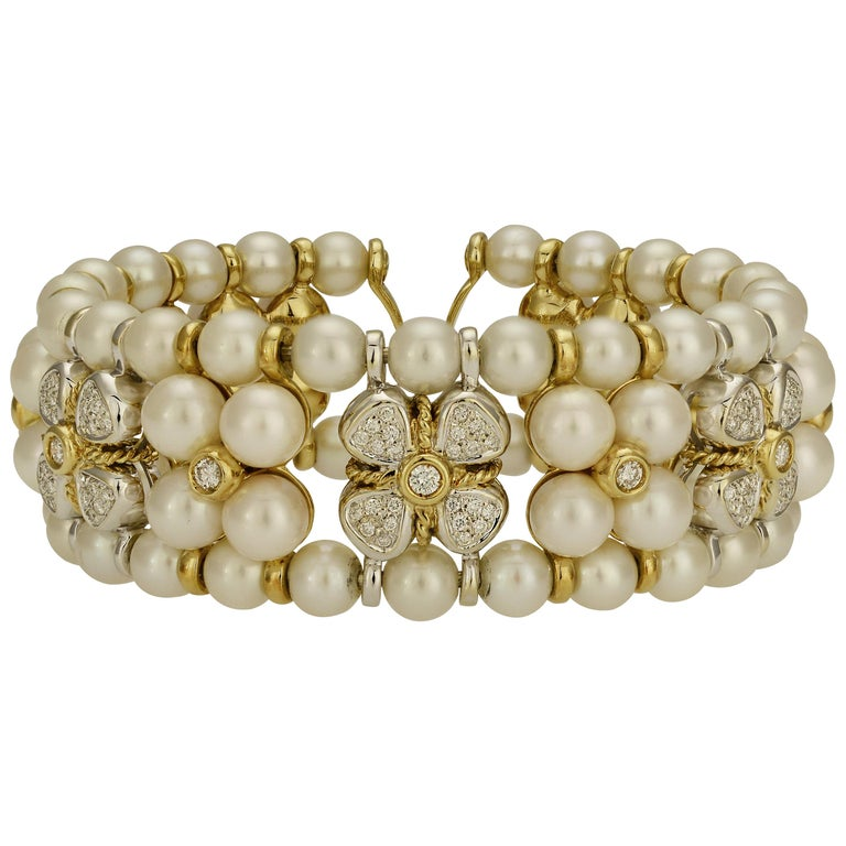 Cultured Pearl and Diamond Floral Cuff Bracelet