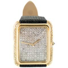 1970s Corum 2 Carat Total Diamond and 18 Karat Yellow Gold Wristwatch