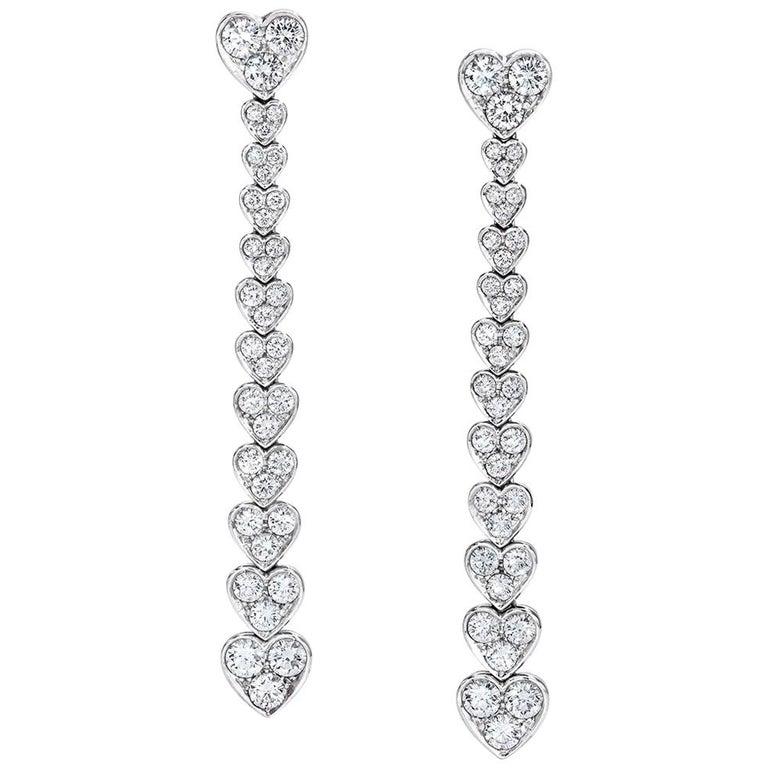 Picchiotti 18 Karat White Gold, Cascading Diamond Heart Drop Earrings