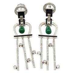 4.35 Carat Emerald and Diamond 18 Karat White Gold Drop Earrings