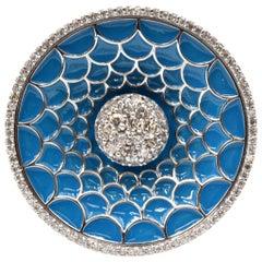 2.41 Carat Diamond and Enamel 14 Karat White Gold Ring