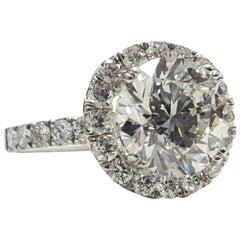 Halo Diamond Ring 3.77 Carat