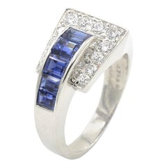 Oscar Heyman Sapphire and Diamond Buckle Ring