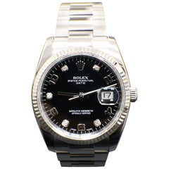 Rolex Date Stainless Steel 115234 Original Factory Diamond Dial Box and Papers