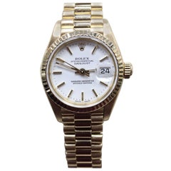 Rolex Ladies President Datejust 69178 White Dial 18 Karat Yellow Gold