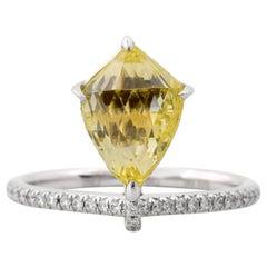3.06 Carat Fancy Intense Yellow Briolette Ring