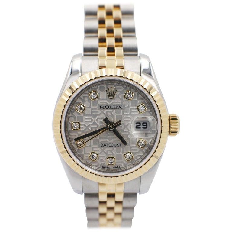 Rolex 179173 Ladies Datejust Jubilee 18k Gold & Steel Diamond Dial Box & Papers