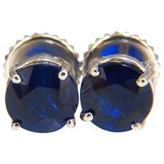 5.14 Carat Natural Kashmere Blue Kyanite Stud Earrings 14 Karat