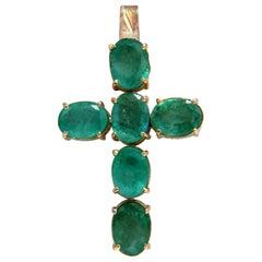 7.46 Carat Natural Emeralds Cross Pendant 14 Karat