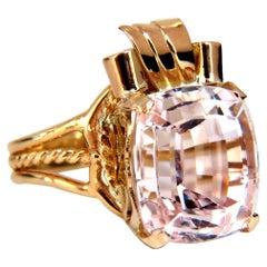 14.60 Carat Natural Pink Kunzite Solitaire Ring 14 Karat