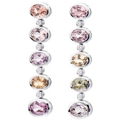 18 Karat White Gold Pastel Tourmaline Drop Cocktail Earrings